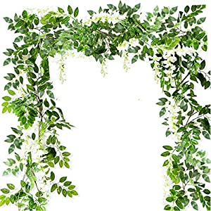 Ollain 4PCS Artificial Flowers Wisteria Garland White Fake Foliage Flower Vine Silk Hanging Flower for Home Garden Outdoor Ceremony Wedding Arch Floral Decor (White)