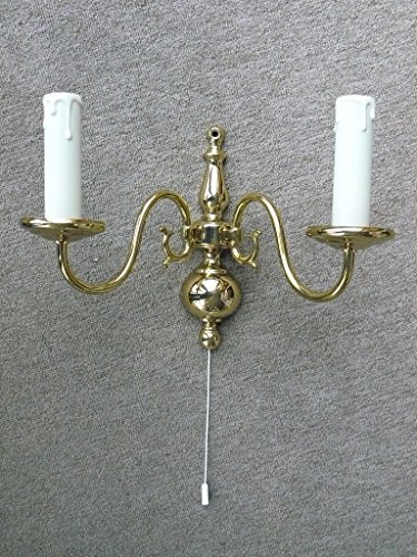 Sische Wandleuchte Flämischer Stil, 2-flammig E14 mit Zugschalter, Messing poliert