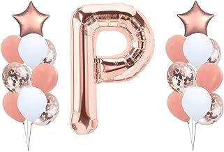 Folienballon Buchstabe Globo de plástico con Letras XXL de la A a la Z en Oro Rosa 81 cm + Globos en Blanco y Oro Rosa + Confeti + cordón para Globos Mega Foil Balloon Set en Oro Rosa P230