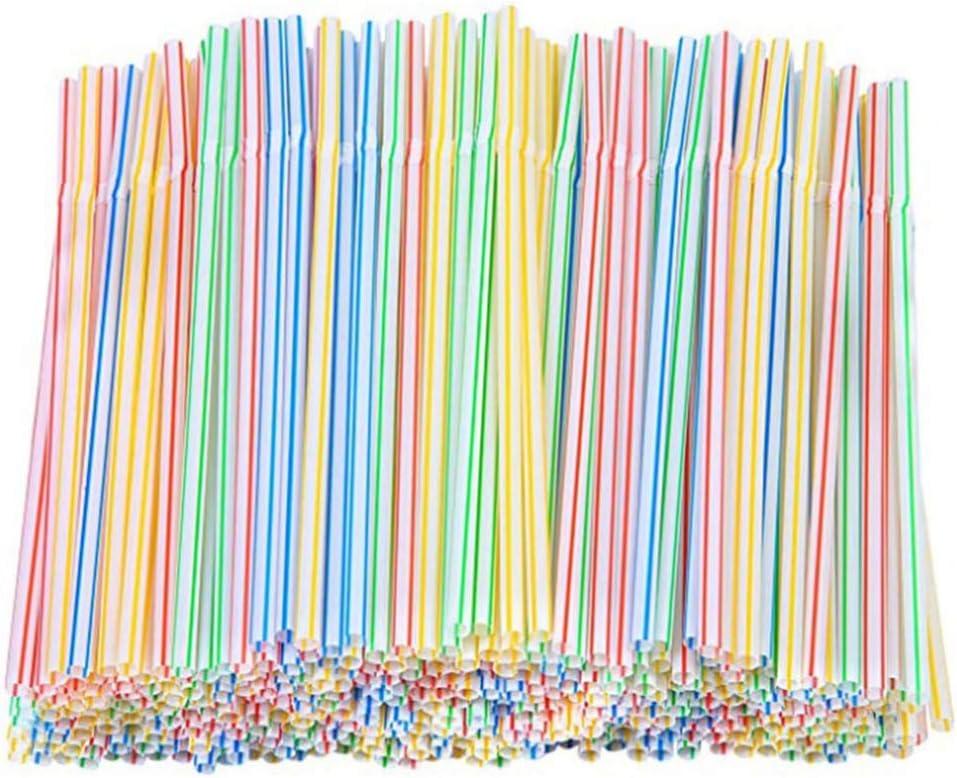 Smosyo 100 St/ück Bunte Plastikstrohhalme Multifunktions-abbaubare Einweg-Trinkhalme Bpa Kostenlos f/ür Home-Party-Aktivit/äten