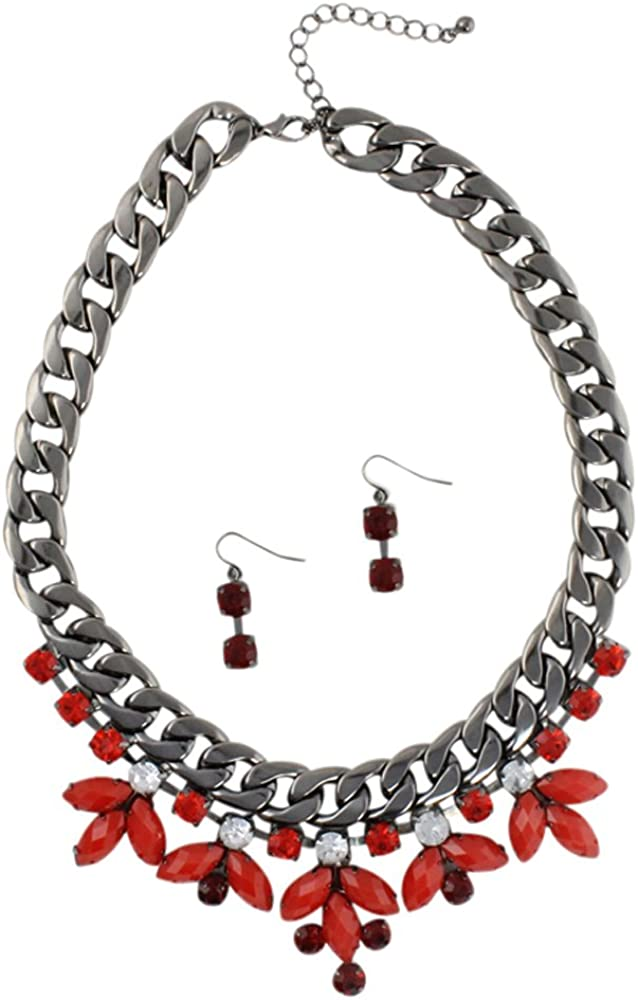 Heirloom Finds Red Crystal Burst Chunky Dark Grey Tone Collar Necklace