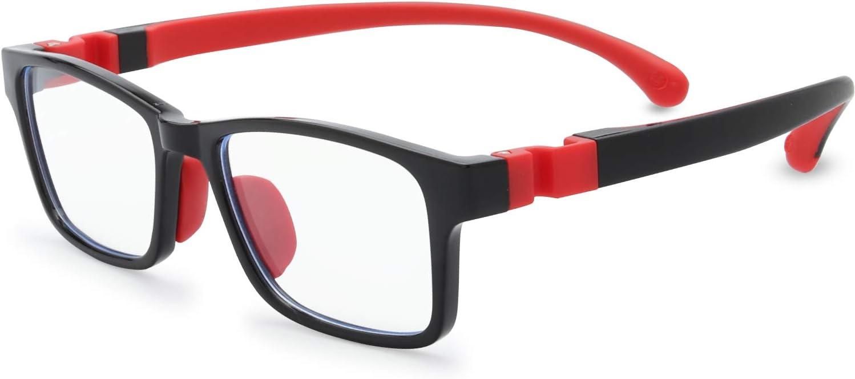 Kids Blue Light Blocking Glasses Silicone Flexible TR-90 Frame, Computer Gaming TV Phone Glasses for Boys Girls Age 3-14 (3-10 yr-Old, B0101 Black)