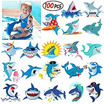 Shark Temporary Tattoos,Grier Ocean Sea Shark Themed Baby Shower Birthday Party Decor,Great hit for party favors for the Boys Girls Kids Party and add to goody bags,SUPER CUTE