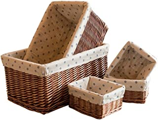 Panier de rangement 5 Pcs de paniers de rangement en osier faits à la main, bacs de rangement décoratifs for la maison, pa...