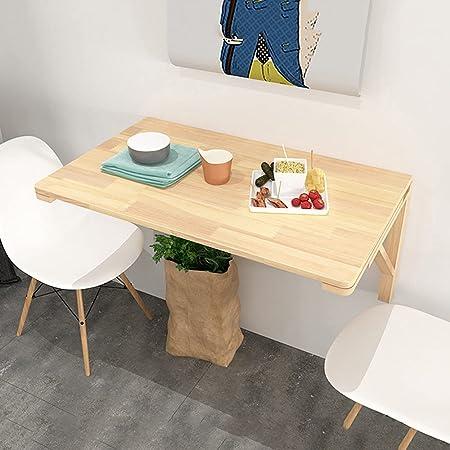 GSKD Table Murale Rabattable en Bois Table De Cuisine pour Petit Espace Bureau D'ordinateur Rectangulaire Table Enfant (Couleur du Bois)