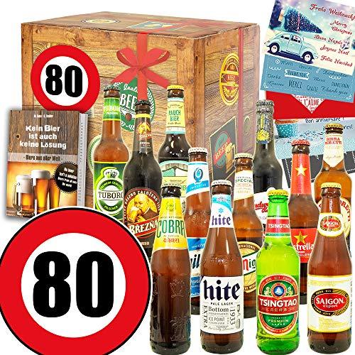 Geschenke Mann zum 80. - Geschenke 80 Geburtstag Frau lustig - 12x Bier Welt
