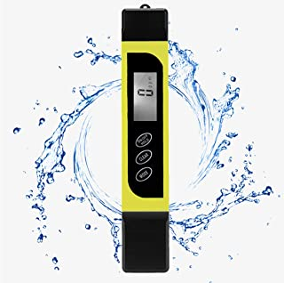 TDS Meter ATC Water PPM Value Conductivity Temperature 3in1 Large Screen Backlight 0-9990PPM Accuracy ±1% Drinking Water Aquarium Swimming Pool Hydroponics Brewing (Yellow)