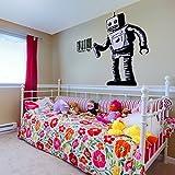 (157x160 cm) Banksy Vinilo adhesivo pared de colores Robot Grafiti/ Robot Pintando código de barras/Grafiti Callejero Pegatina / ROBOT CON BOTE + GRATIS Pegatina Regalo