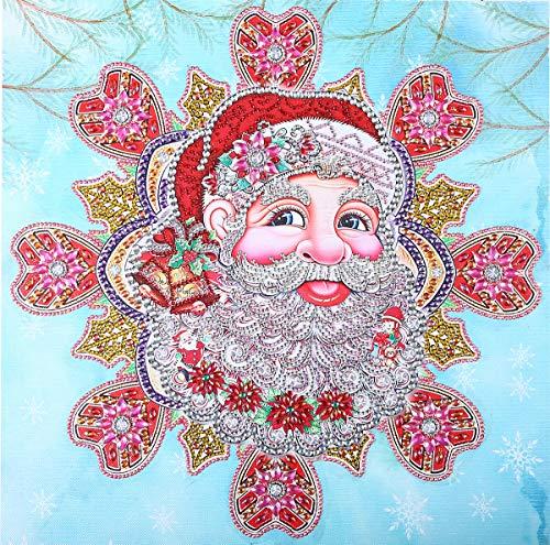 MAster 5D Forme Spéciale Forme de Diamant Peinture Maison Décorée au Point de Croix Strass Broderie DIY Artisanat Mandala et Père Noël 18.5x18.5inch Santa Claus