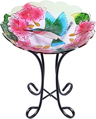 "MUMTOP Outdoor Glass Birdbath with Metal Stand for Lawn Yard Garden Hummingbird Decor,18"" Dia/21.65 Height"