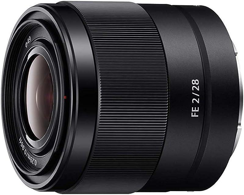 Sony FE 28 mm f/2 - Objetivo Gran Angular de Montura Tipo E (Distancia Focal Fija 28 mm Apertura f/2 -f/22 diámetro Filtro: 49mm fotograma Completo de 35 mm) Negro