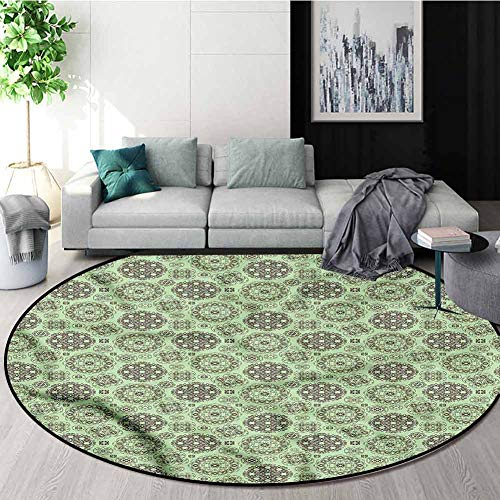 Affordable RUGSMAT Vintage Warm Soft Cotton Luxury Plush Baby Rugs,Floral Motifs Swirls Design Non-S...