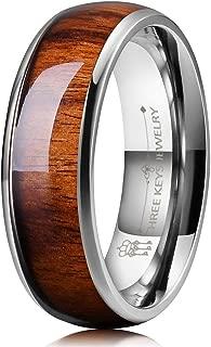 THREE KEYS JEWELRY 6mm 8mm Titanium Wedding Band for Men Women Santos Rosewood Wood Inlay Engagement Ring