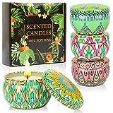 Coffret cadeau bougies parfumées, 4 boîtes en cire de soja 100% naturelle avec des huiles essentielles pour soulager le stress, 4 parfums à utiliser pour l'aromathérapie, le bain, le yoga.