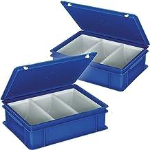 2x Euro de–Cubertería de con 3huecos de uso, dimensiones: 400x 300x 130mm, Azul