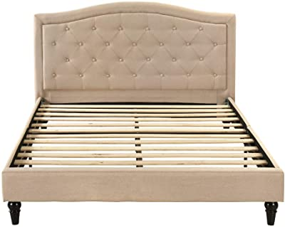 Divano Roma Furniture Classic Dark Ivory Color Box-Tufted Fabric Bed Frame (Queen), Grey
