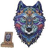 Puzzle de madera para adultos, diseño de animales, multicolor, forma única, puzle mágico, puzzle de animales, ideal para la colección de juegos familiares, A4, lobo, 29,7 x 21 cm