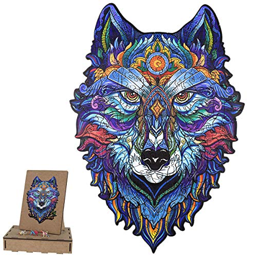Holzpuzzle Erwachsene Tiere Bunt Einzigartige Form Puzzleteile, Magisches Holzpuzzle Tierpuzzles Ideal für Die Familienspiel Sammlung A4 Wolf 29.7x21 cm