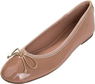 [Feversole] Women's Macaroon Colorful Memory Cusion Insock Patent Ballet Flat 女性のマカロン色の光沢のあるメモリフォームマットフラットバレエシューズ
