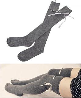 d4ec004945 Monlonen Cotton Long Ribbon Stocking Thigh High Knitted Socks Over Knee