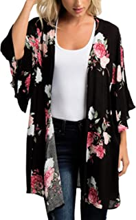 a99f5465bb MayBuy Women's Flowy Chiffon Kimono Cardigan Boho Style Beach Cover Up  Casual Loose Tops (6