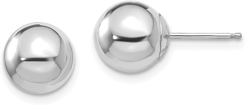 14k White Gold Madi K Polished 8mm Ball Post Earrings