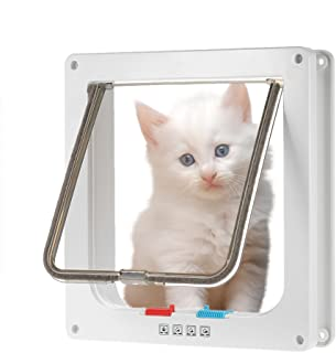 Anself Pet Dog Door Small Middle 4-Way Locking Cat Flap Wall Mount Pet Door Large