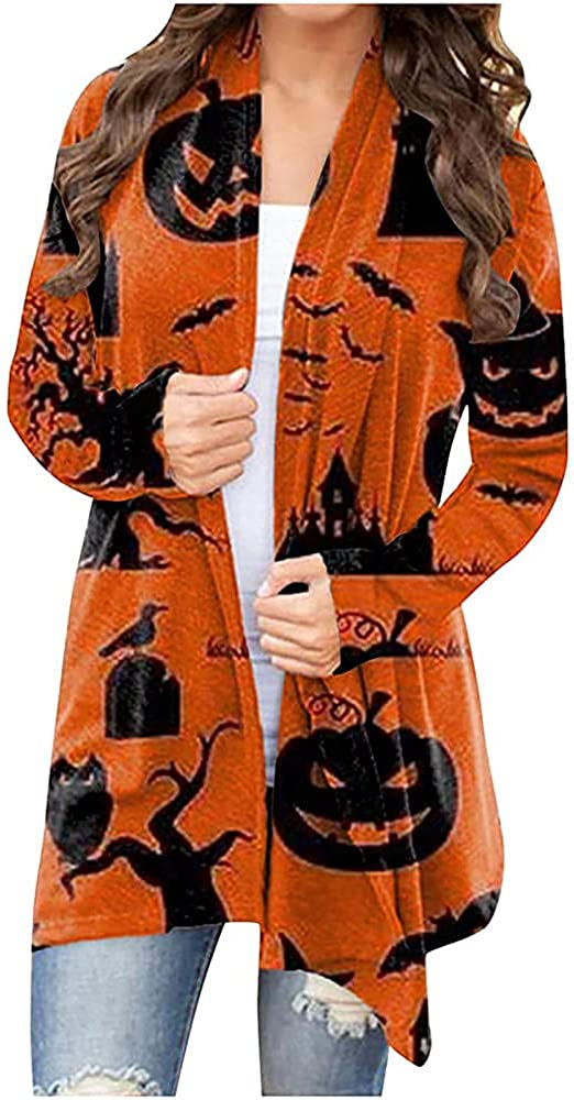BIAOCDG.US.STORE Women's Halloween Long Sleeves Cardigan Funny Black Cat Pumpkin Ghost Graphic Print Open Front Knit Sweaters