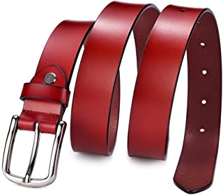 Women's Belt Leather Belt Solid Color Pin Buckle Simple Mother's Day Gifts (Color : Red)