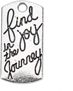 JETEHO 30 Pcs Find Joy in The Journey Charms Silver Plated Inspirational Message Connector Charms Pendants for Crafting Jewelry Making