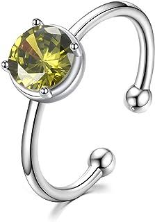 EAMTI Birthstone خاتم للنساء مكعب زركونيا قابل للتعديل 925 خاتم وعد الزفاف