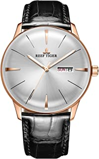 Luxury Dress Watches Date Day Rose Gold Convex Lens Automatic Watches for Men RGA8238