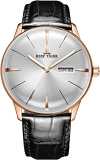 Reef Tiger Luxury Dress Watches Date Day Rose Gold Convex Lens Automatic Watches for Men RGA8238