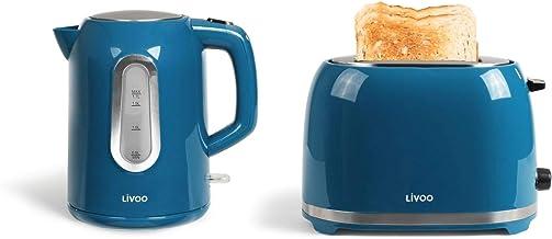 Bouilloire sans fil et grille-pain bleu Set petit-déjeuner (arrêt automatique, élément chauffant caché, 1,7 l)