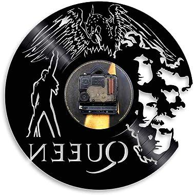 YUN Clock Vinyl Records Horloge Pendule Murale Familles 3D Queen Band Style Retro Chambre Décoration Superbe idée de Cadeau d