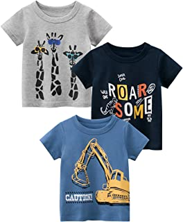DEEKEY Toddler Little Boys' 3-Pack Short-Sleeve Crewneck T-Shirts Top Tees for Kids Size 2-7 Year