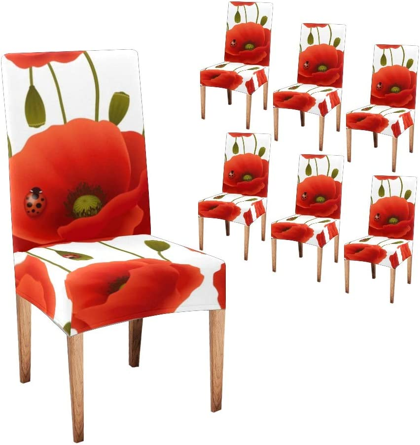 XIUCOO Custom Stretch Max 46% OFF Indianapolis Mall Chair Covers Red Floral Co Poppy Protector