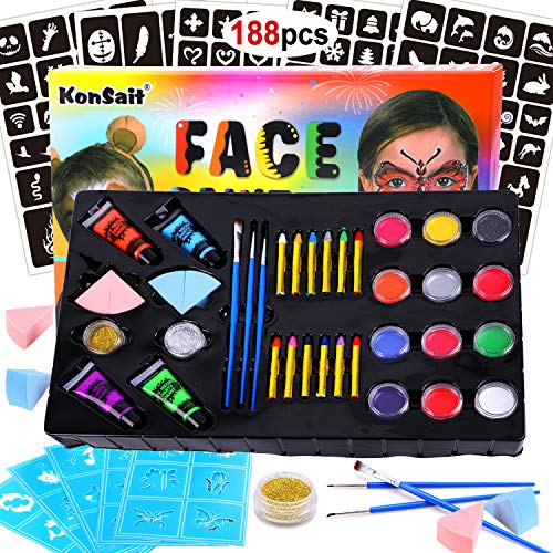 Konsait Face Paint Kit for Kids, 12 Professional Non-Toxic Palette, 4 UV Glow Neon Face and Body Paint, 12 Crayons, 151 Stencils, 3 Brushes, 4 Sponges, 2 Glitters for Children Halloween Party Makeup