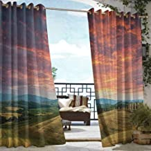 DonaHome Polyester Curtain,Tuscany Tuscany Italy Cypress Trees and Fields Crop Cloudy Sky Holiday Destination,Outdoor Privacy Porch Curtains,W120x84L Vermilion Khaki