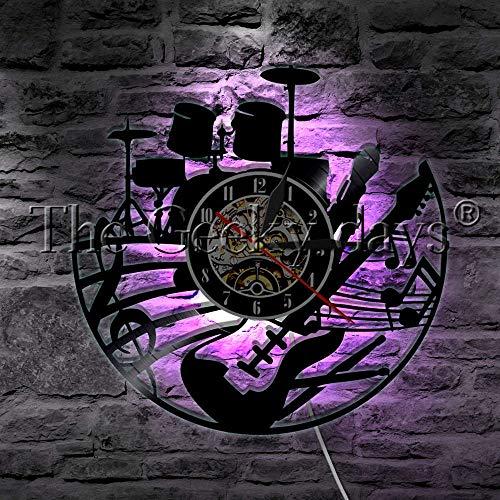 1 Stück Rockmusik Gitarre Und Schlagzeug Schallplatte Wanduhr Moderne Wandleuchte Musikinstrument LED Nachtlicht Gitarre Geschenk