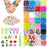 Aoibeely Gomas para Hacer Pulseras, 2000+ Pulseras Gomas Elasticas Colores, Muchos Pequeños Accesorios, Bricolaje Manualidad para Niños de Anillos y Collares (25 Colores)