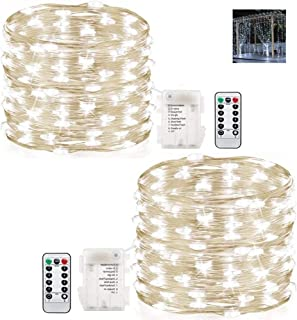 Gluckluz String Lights Indoor Bedroom Fairy Light Waterproof Battery Operated 200 LED Lighting Copper Wire with Remote Con...