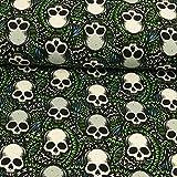 French Terry Totenköpfe grün weiß Kinderstoffe