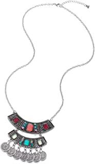 Long Chain Necklace Colorful Crystal Beads Charms Multilayer Circles Tassel Pendant, Vintage Ethnic