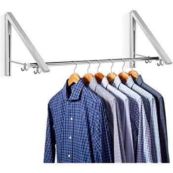 Aluminum Clothes Hanging System Wall Mounted Folding Clothes Hanger Retractable Easy Installation Home Storage Organizer(2 in 1)