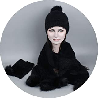Women Winter Hat and Scarf Gloves Set Warm Knitted Hat Scarf for Girls Faux Fur Pompoms