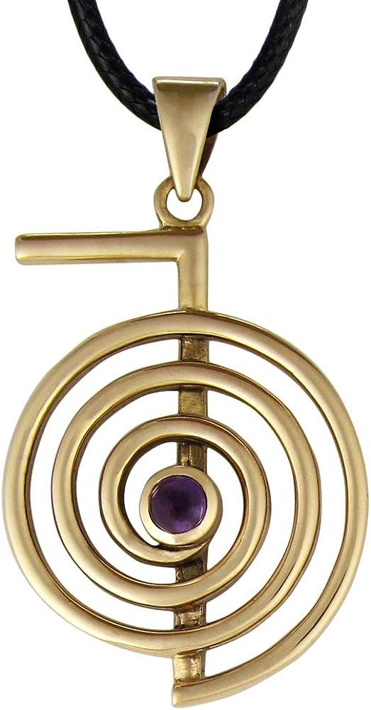 Bronze Cho Ku Rei Reiki Symbol Pendant Necklace with Natural Amethyst