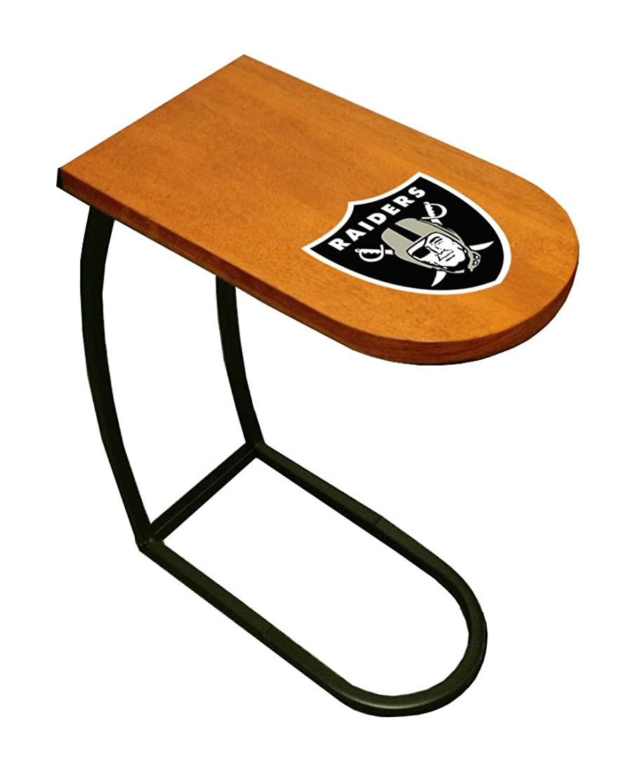 The Furniture Cove Oak Finish TV Tray with Your Favorite Football Team Logo (Raiders)