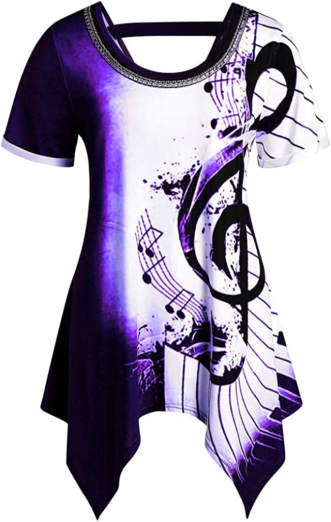 Tie Dye T-Shirt for Women Lrregular Note T Hem SEAL limited product Musical Tee Print Ranking TOP3