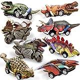 HERSITY Auto di Dinosauro con 6 Tirare Indietro Veicoli e 2 Inerziale Moto Automobili Giocattolo Compleanno Regalo per Bambini